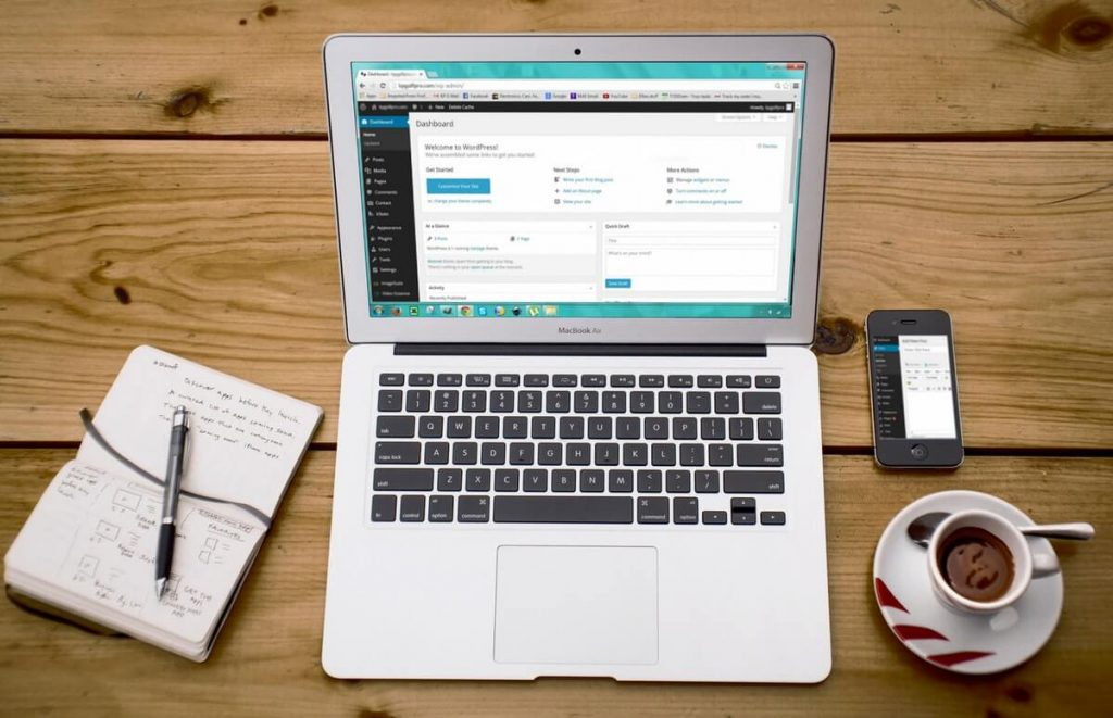 WordPress på laptop